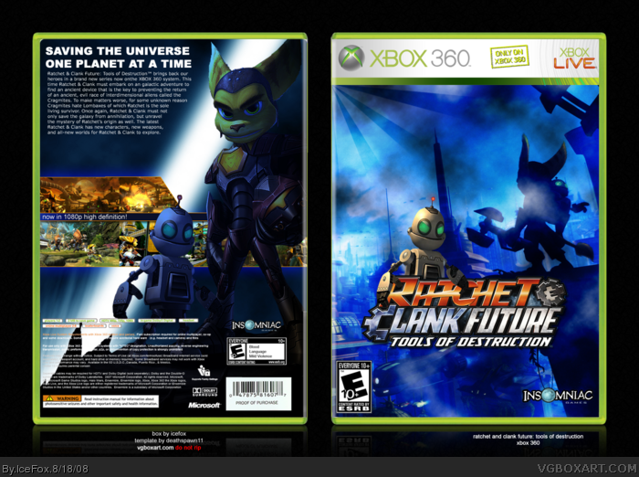 Ratchet And Clank Future Tools Of Destruction Xbox 360 Box Art