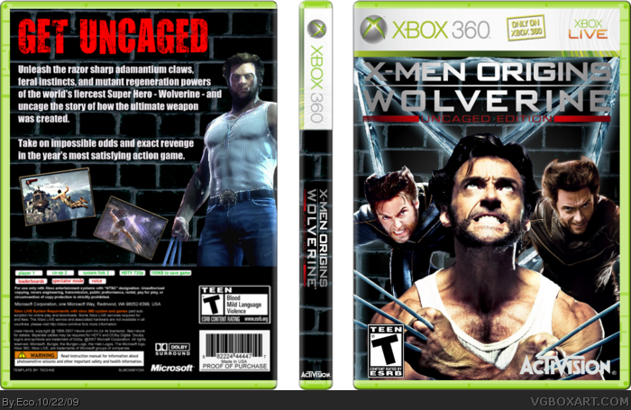 X-Men Origins: Wolverine Uncaged Edition box art cover