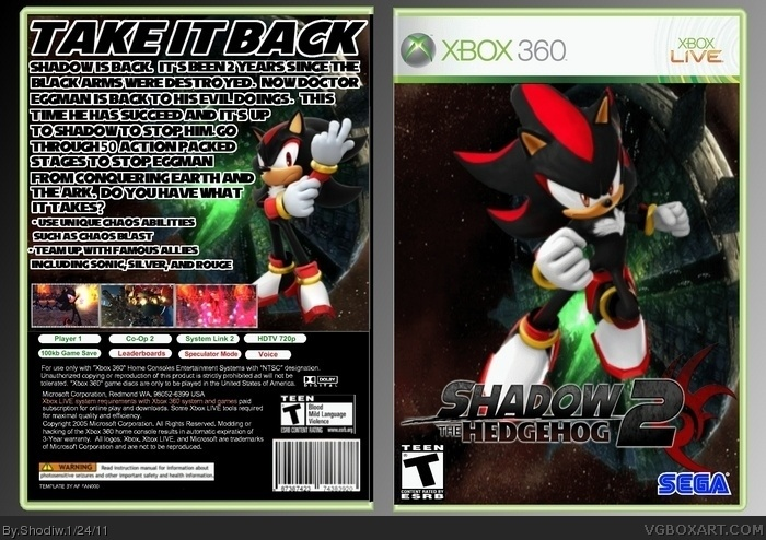 Shadow The Hedgehog 2 Xbox 360 Box Art Cover By Shodiw