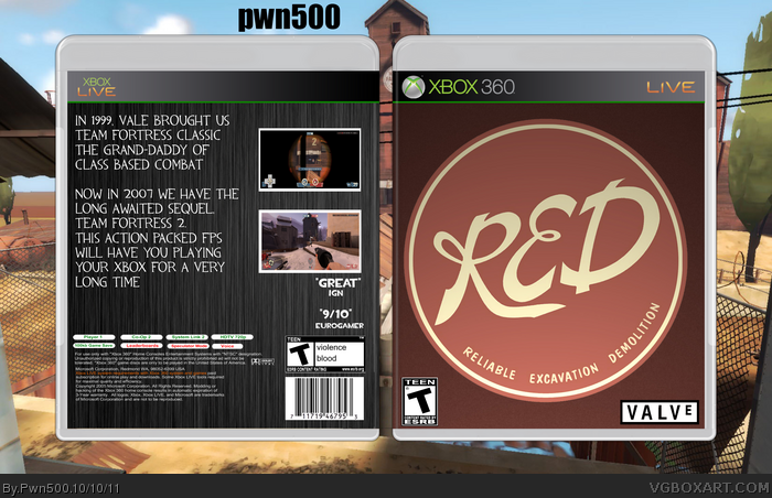 Team Fortress 2 Xbox 360 Box Art Cover By Pwn500