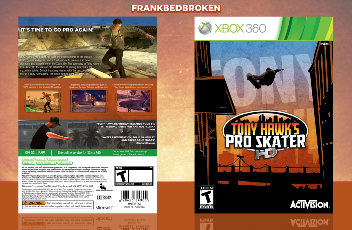Tony Hawk's Pro Skater HD box art cover