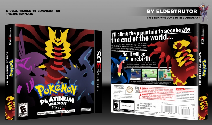 Pokemon Platinum version for 3DS box art cover