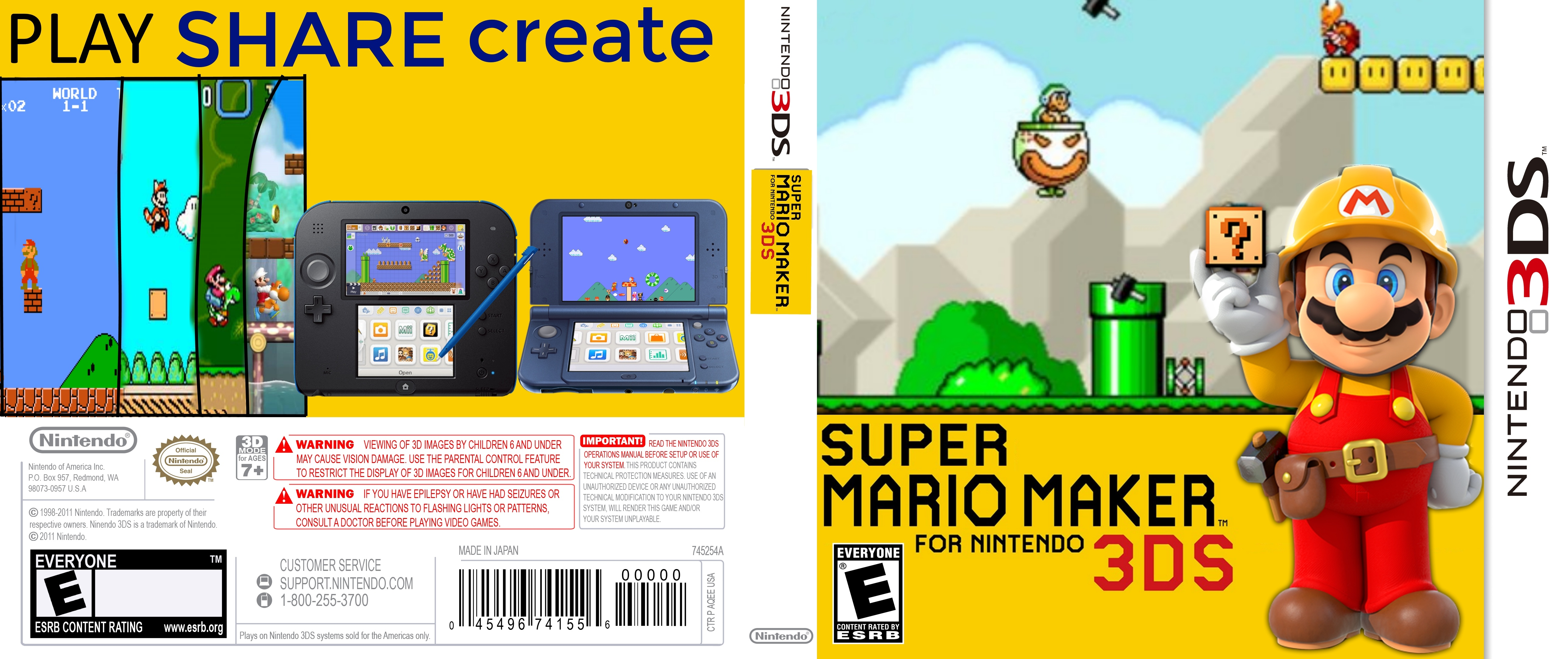 Super Mario Maker : For Nintendo 3DS box cover