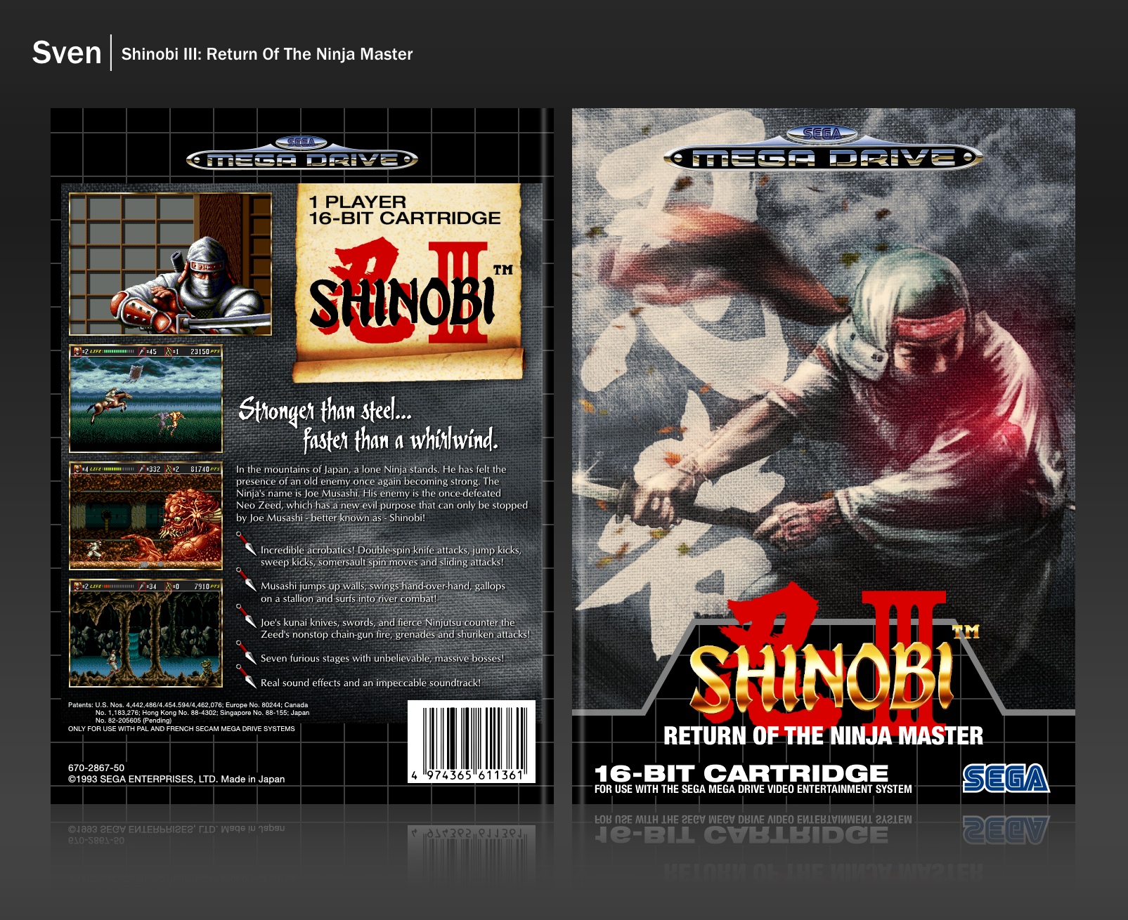 Shinobi III: Return of the Ninja Master box cover