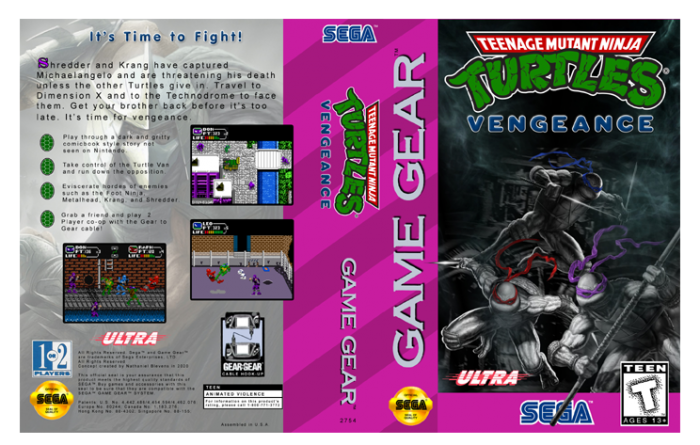 TMNT Vengeance Sega Game Gear box art cover
