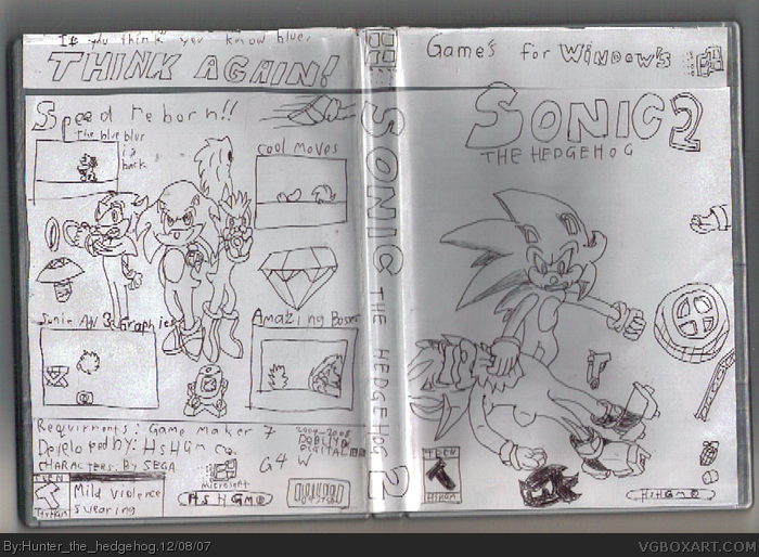 Sonic the Hedgehog 2 the lege of th bla cha eme! box art cover
