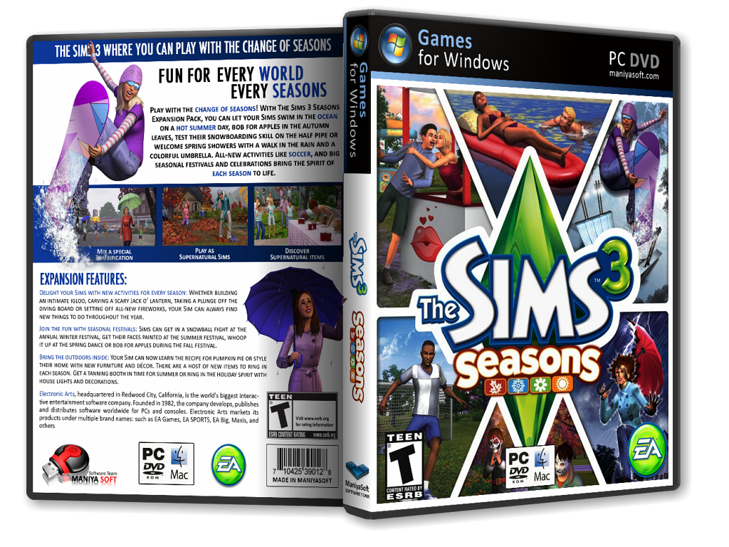 The Sims 3: Seasons box cover
