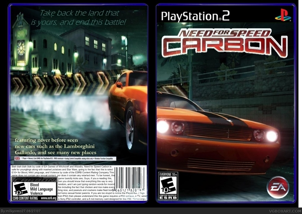 Need For Speed Carbon Playstation 2 Box Art Cover By Milkyoreo27