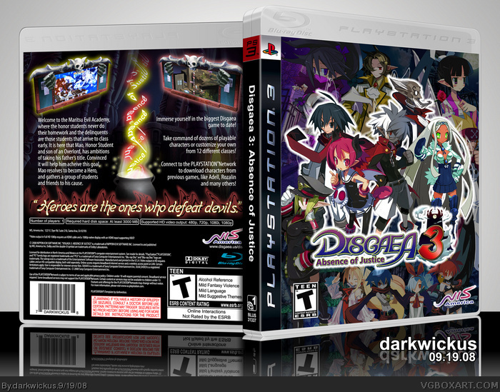 Disgaea 3: Absence of Justice box art cover