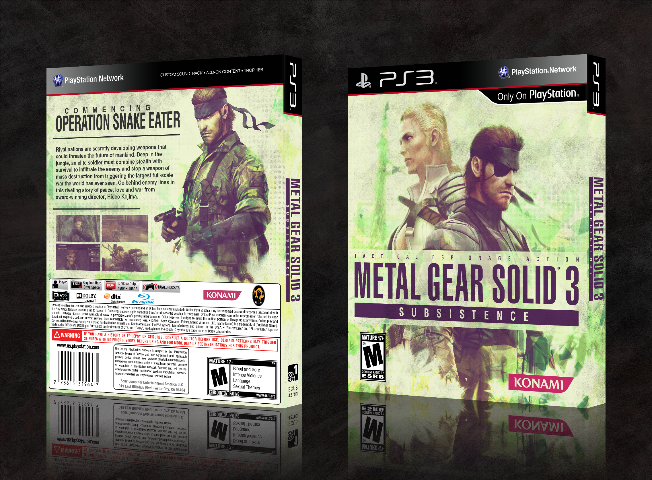 Metal Gear Solid 3: Subsistence box cover