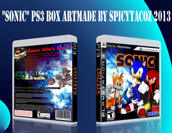 """Sonic"" reboot of Sonic 1 (fake game) box art cover"