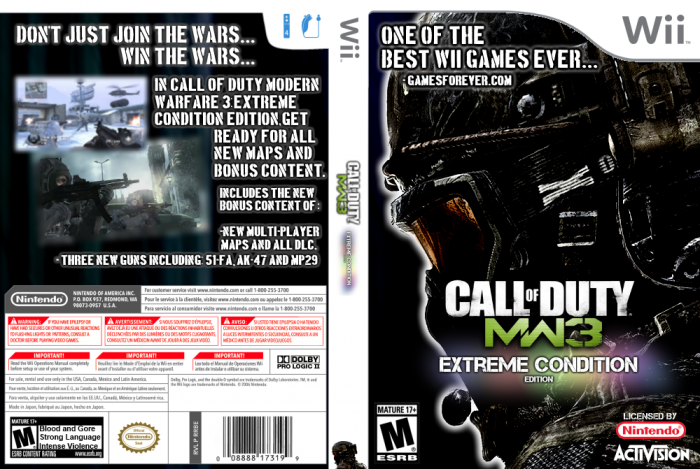 Call Of Duty Mw3 Extreme Condition Edition Wii Box Art Cover By