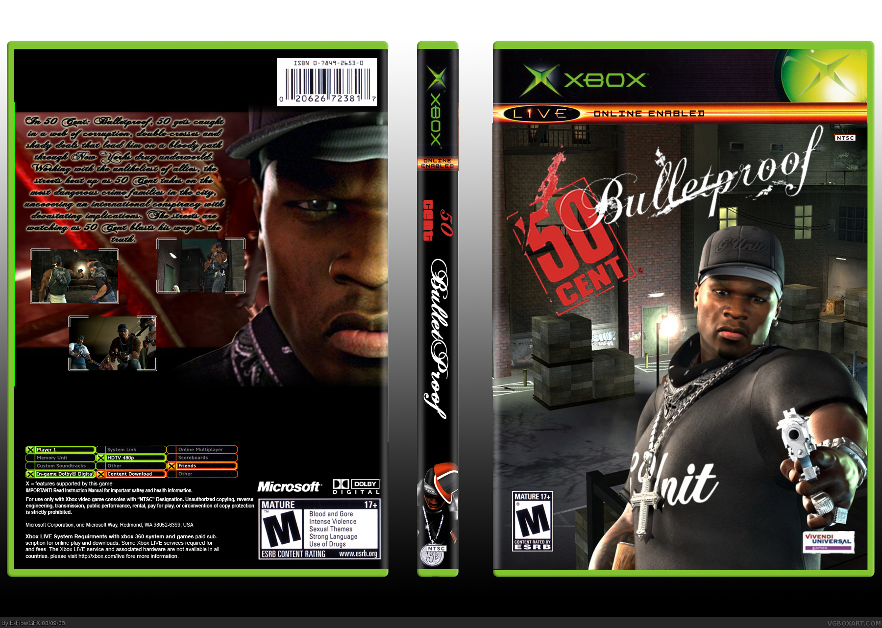 50 Cent Bulletproof box cover